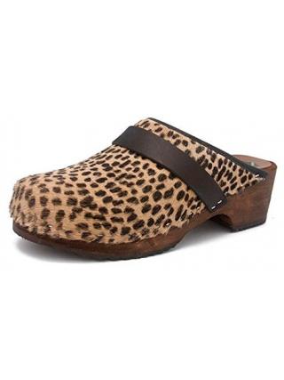 Gunnels Falun Leopardo Marrón/Negro - Zueco estampado